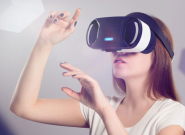 woman using VR headset