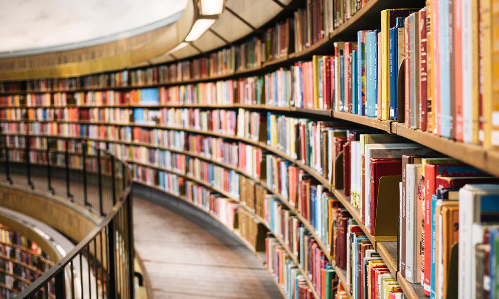 library books on shelf